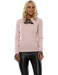 Laetitia Mem Baby Pink Leopard Scarf Tie Neck Jumper 72a78c9bb
