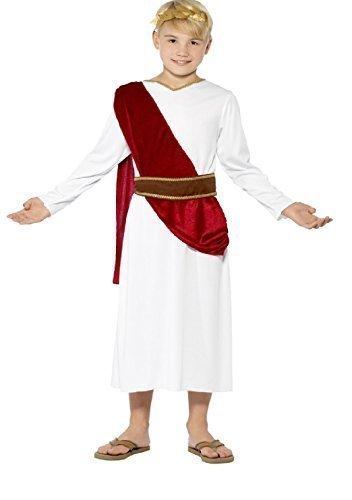 Fancy Me - Kinder Jungen Toga Emperor Caesar Antike Kostüm Verkleidung - Weiß, 7-9 (Für Kostüm Jungen Römisches)