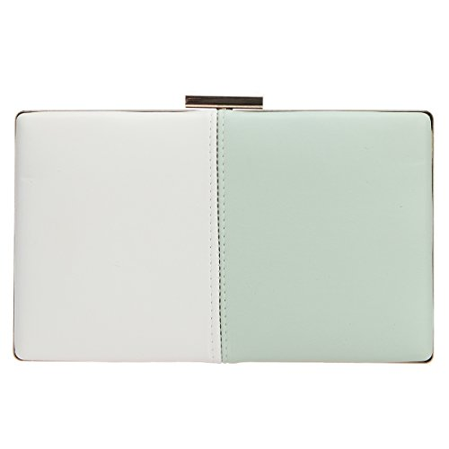 6821a04edb Bonjanvye Stitching Clutch Bag Party Prom Wedding Purses and Handbags White  and Green