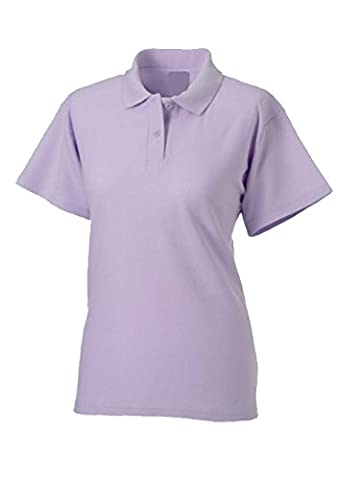 Ladies Pique Polo T Shirts Sizes 8 to 22 - WORK CASUAL SPORTS LEISURE (12 /M MEDIUM, LILAC)
