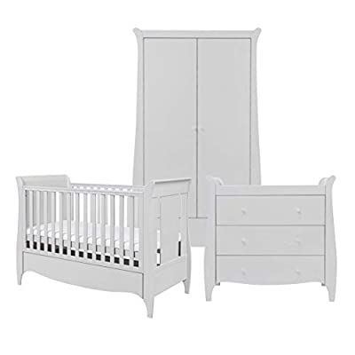 Tutti Bambini Roma Nursery Furniture Set | Space Saver Baby Cot Bed, Sleigh Design Chest of Drawers and Wardrobe | Solid Wood Furniture (Dove Grey) Three Piece (Space Saver)