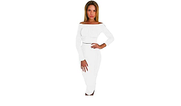 70d438c0c9b61 Sunward Women s Off Shoulder Long Sleeve Crop Top Midi Skirt Outfit Two  Piece Bodycon Bandage Dress Small White  Amazon.in  Clothing   Accessories