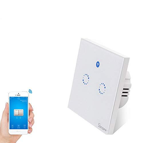 Sonoff T1 EU 2 gangTouch Lichtschalter timer,WiFi Panel Schalter touch glas lichtschalter  LED Lichtschalter Arbeit Mit Alexa/Nest((2gang) -