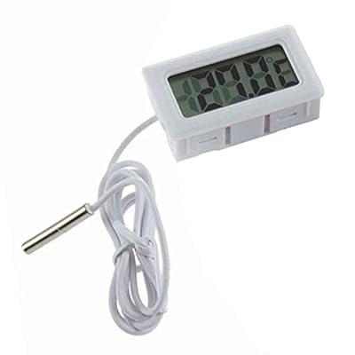 Fornateu Digital-Aquarium LCD-Thermometer Schwarz Temperaturmonitor mit externem Fühler für Fisch-Behälter-Wasser