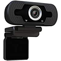 Dericam 1080P Full HD Live-Streaming-Webcam, USB Desktop und Laptop Webcam, Mini-Plug-and-Play-Videogesprächen Computer-Kamera, Eingebautes Mikrofon, Flexible Drehbare Clip, W2, EU, Schwarz