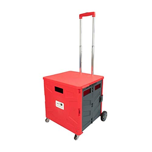 CZLSD Zusammenklappbarer Einkaufswagen - Multifunktional - Hocker Gepäckwagen - Rot - Garage Shop Hocker