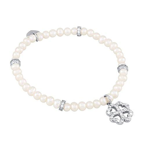 Fortuna trifoglio Mabina Gioielli Bracciale in argento con perle di acqua dolce e zirconi 17 (Perla Del Trifoglio)