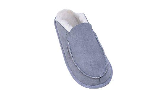 Calde Pantofole Con Fodera In Lana di Pecora Unisex per Uomo e Donna Grigio/Bianco