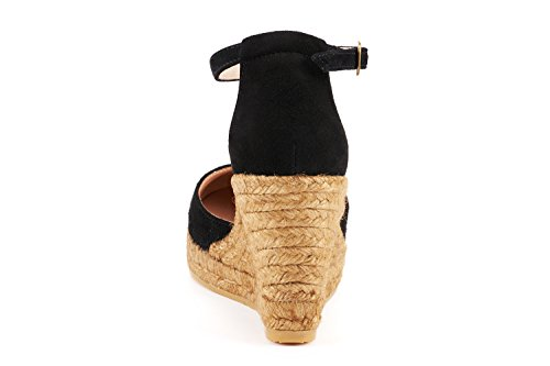 VISCATA Palamos Elegant Comfort, Soft Suede, Ankle-Strap, Closed Toe, Espadrilles with 3-inch Heel Made in Spain Noir - noir