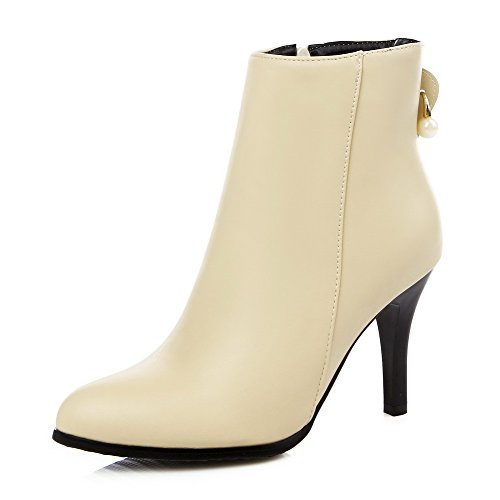 AllhqFashion Damen Reißverschluss Weiches Material Hoher Absatz Spitz Zehe Stiefel, Aprikosen Farbe, 35