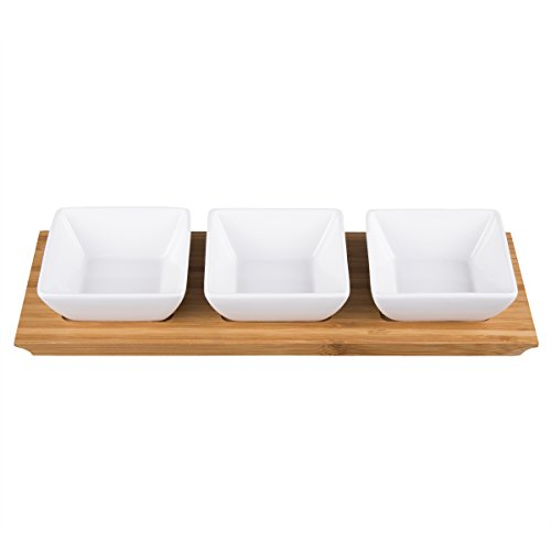 Creative Home 43002 4 pc Stoneware Square Bowls and Natural Bamboo Rectangular Tray Snack Serving Set, White Snack Tray Set