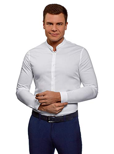 Oodji ultra uomo camicia slim fit con collo alla coreana, bianco, 44cm / it 54 / eu 44 / xl
