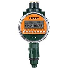 Fixkit - Orologio per irrigazione con sensore di Pioggia, Display LCD, Protezione IP67, programmi di irrigazione Fino a 30 Giorni