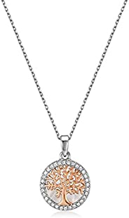 Mestige Women's Rose Gold Maple Tree of Life Necklace with Swarovski Crystals - MSNE