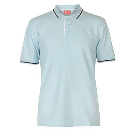 Slazenger Tipped Polo Shirt Mens Short Sleeve Stripe Detail Polo Shirt - Light Blue - Medium -