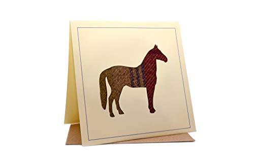Lambacraft Geburtstagskarte mit Pferdemotiv aus Tweed, Tartan, Wolle, Stoff, Silhouette -