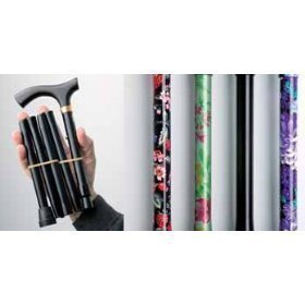 World Smallest Folding Walking Stick - Black Floral