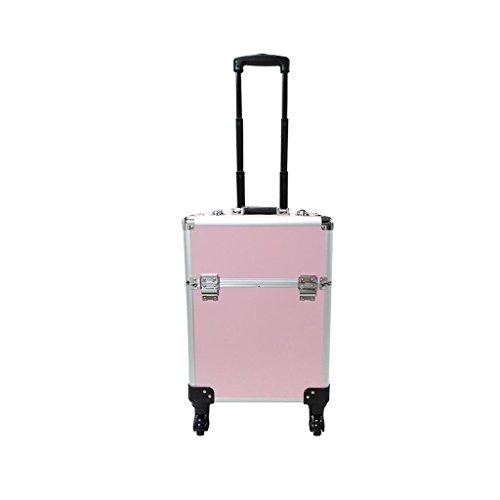 RKY Boîte à outils de maquillage - Trolley Case avec maquillage Maquillage Valise Salon de beauté Grande capacité Caster Boîte de rangement légère Stockage multi-fonctionnel