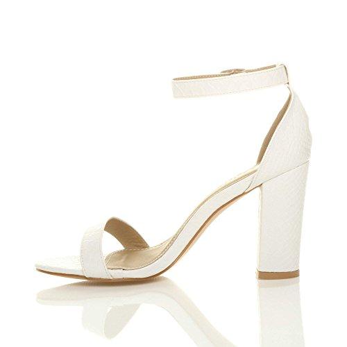 Ajvani Femmes haute large talon chaussures bout ouvert sandales à lanières pointure Serpent blanc