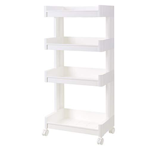 Küchenwagen QIQIDEDIAN Weißes Badezimmer-Regalboden-Plastikbadezimmer-Speicher-Gestell-bewegliche Mehrschichtige (Size : L)