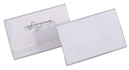 Durable 800819 Namensschild (mit Nadel, 40 x 75mm) Packung à 100 Stück transparent -