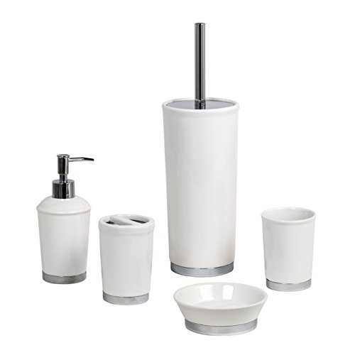 chatsworth 5pc white ceramic bathroom accessory set soap dish liquid dispenser toothbrush tumbler toilet brush holder by showerdrape - White Bathroom Accessories Ceramic
