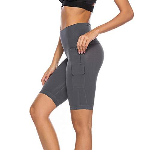 Clacce Sport Leggins für Damen, Leggings Damen Sporthose Laufhose Taschen Hohe Taille Blickdichte für Yoga 3/4 Sporthose Blickdicht Capri Tights Yogahose