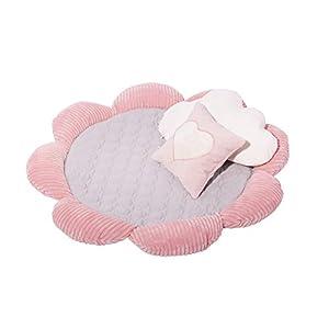 CANENYA Krabbeldecke, Spieldecke, weiche Bodenunterlage mit erhöhter Umrandung, Teppich, Spielteppich, Decke für Mädchen, rund, hellgrau/rosa Bodenmatte