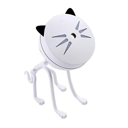 Humidificateur,OVERMAL Lampe Humidificateur Mignon Petit Chat Conduit Humidificateur Diffuseur Purificateur Atomiseur (Blanc)