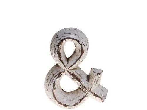 """kadoh Sonderzeichen \""""&\"""" (small) Holz Höhe 7,5 cm weiß Vintage-Style ca. 8 cm Buchstaben Deko Vintage"""