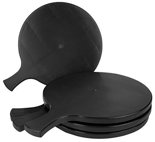 Pz 6 vassoio nero black cm 34 x 26 con manico per taglieri di salumi formaggi e polenta in plastica rigida