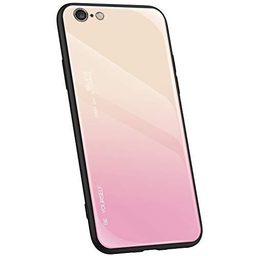 Jinghaush Kompatibel mit iPhone 6S Hülle,Kompatibel mit iPhone 6 Handyhülle Farbverlauf Farbe Gehärtetes Glas Back Cover + Weich TPU Silikon Rand Kratzfest Schutzhülle,Rosa