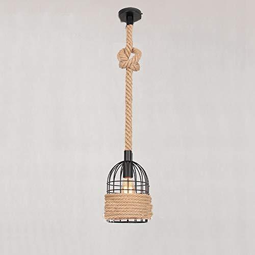 LifeX Rustikale industrielle Pendelleuchte Retro Hanf Seile Lampe Restaurant hängen Beleuchtung Vintage Kronleuchter Bars Vogelkäfig Form Deckenleuchte Cafe E27 Base Pendelleuchte (Industriellen Hanf Samen)