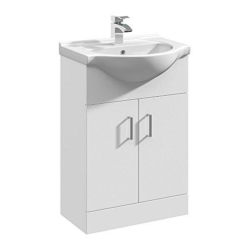 Premier vty550550mm de alto brillo Mayford armario y lavabo–blanco