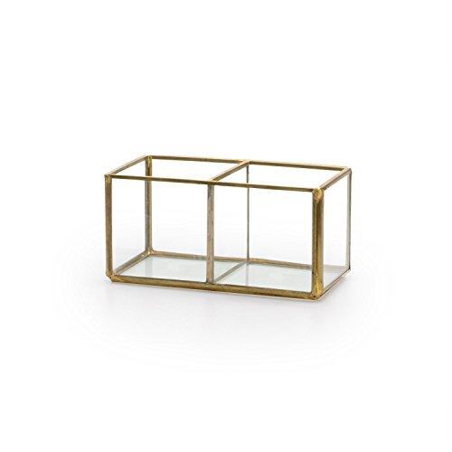 Black Velvet Studio Deko-Box Retro Glas und verchromt, Color transparent und Gold. Box 2 Löcher. Nordic und Retro-Stil. 6x19x6 cm. (Gläser Gold Black)