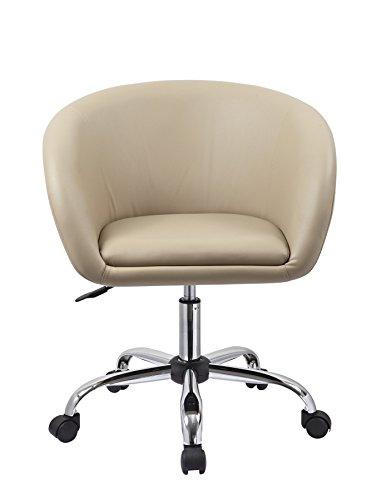Drehstuhl mit Rollen Cappuccino Schreibtischstuhl Arbeitshocker aus Kunstleder Hocker Kosmetikhocker Duhome 0545