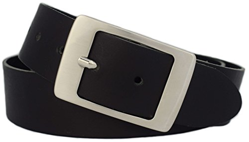 Damengürtel schwarz 4 cm breit - PREMIUM Gürtelschnalle - Ledergürtel Damen schwarz - *Made in Germany* aus 100% Echt-Leder - weiches Leder - Damen Gürtel (125 cm Bundweite = 140 cm Gesamtlänge)