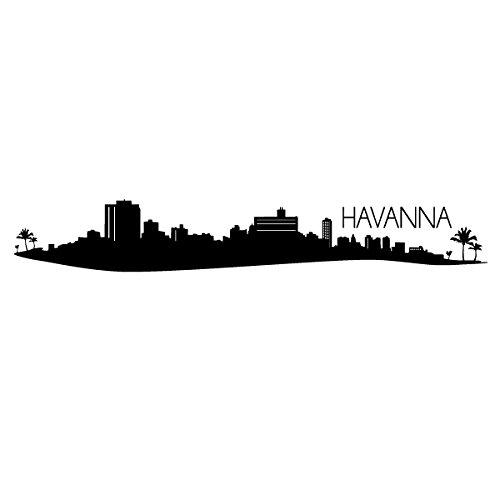 Wadeco Havanna Skyline Wandtattoo Wandsticker Wandaufkleber 35 Farben verschiedene Größen, 98cm x 15cm, braun