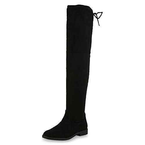 SCARPE VITA Damen Overknees Stiefel Wildleder-Optik Boots Langschaftstiefel 173667 Schwarz Black 36