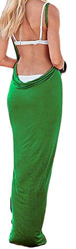 confit you - Damen Einfarbiges Spaghetti Träger Strandkleid zum Wickeln, Viele Farben Grün