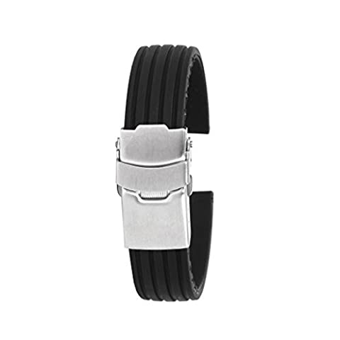 Black Silicone Rubber Watch Strap Band Deployment Buckle Waterproof 16mm