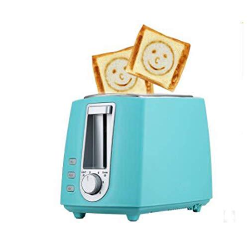 QZLKI Edelstahl Elektrischer Toaster Haushalt Automatische Brotmaschine Backmaschine Toast Frühstück Sandwich Grill 2,Blau