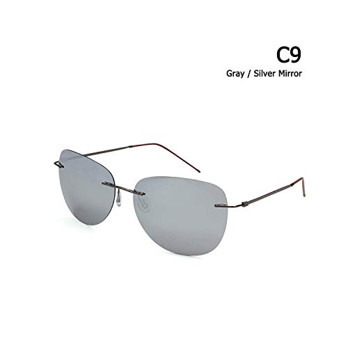 Sport-Sonnenbrillen, Vintage Sonnenbrillen, Männer Ultralight Titanium Polarized Folding Hinge Sunglasses Rimless Aviation Style Brand Design Sun Glasses Oculos De Sol C9 Gray Silver