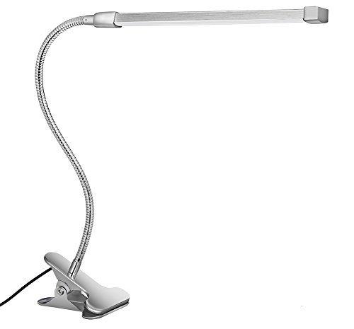 Svance lampada lettura con pinza, 8w lampada da scrivania led regolabile con 3 modalità (apprendimento / lettura / relax) e 10 livelli di luminosità (argento)