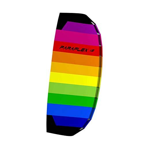Wolkenstürmer Paraflex Basic 1.2 Lenkmatte, Regenbogen - Flugfertiger 2-Leiner Kite für Anfänger