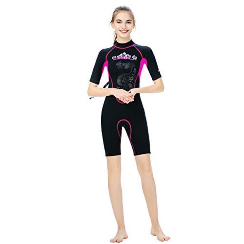 Damen Tauchsurfbe Kleidung Neopren-Surfbekleidung KurzäRmeliger, Wasserdichter Und Schnell Trocknender Bademode Eucoo(Pink, S)