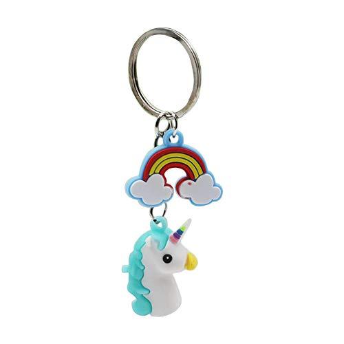 jingyuu Llavero Unicornio Bolso de Niñas Ornamento de Coches Llavero de Cuero de la PU Colgante de Bolas de Pelo de Dibujos Animados