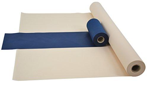 Fachhandel für Vliesstoffe Sensalux Kombi-Set 1 Tischdeckenrolle 1,5m x 25m + Tischläufer 30cm (Farbe nach Wahl) Rolle Creme Tischläufer blau