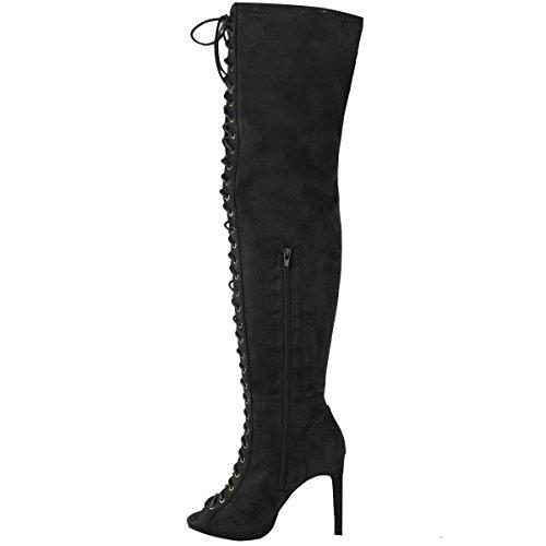 KAYS_ALL ,  Mädchen Damen Hohe Hausschuhe , schwarz - schwarze Velourslederoptik - Größe: 39 (Lace Up Knee High Schuhe Für Kinder)