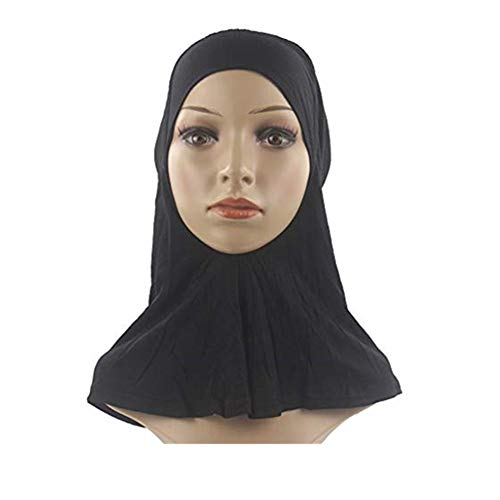 Beautynie Moslemische Damen Kopftuch Stretch Turban Sockelkappe Hut Chemo Cap Headwrap Duschhaube Schal Elastische Sweat Saugfähige Schweiß Absorbierende Baumwolle Underscarf (Schwarz) Stretch-hut